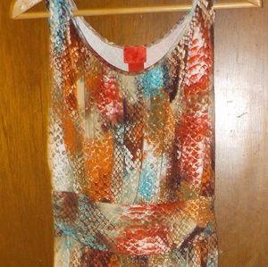 A very nice sleeveless colorful dress